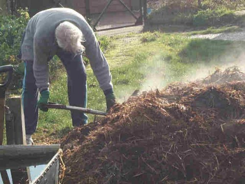 Former Fullerton City Manager Jim Armstrong shovelling hard.