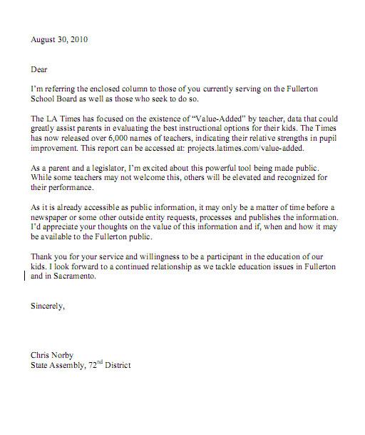 Sample Letter To School Board Member. Letter From Paul Sibblies