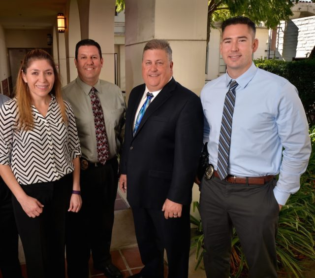 Fullerton Police from left, Cpl. Eric Song, Patricia Arevalo, Sgt. Dan Castillo, Lt. Andrew Goodrich and Cpl. Donny Blume. Photo by Steven Georges/Behind the Badge OC & Paid for by Fullerton Taxpayers