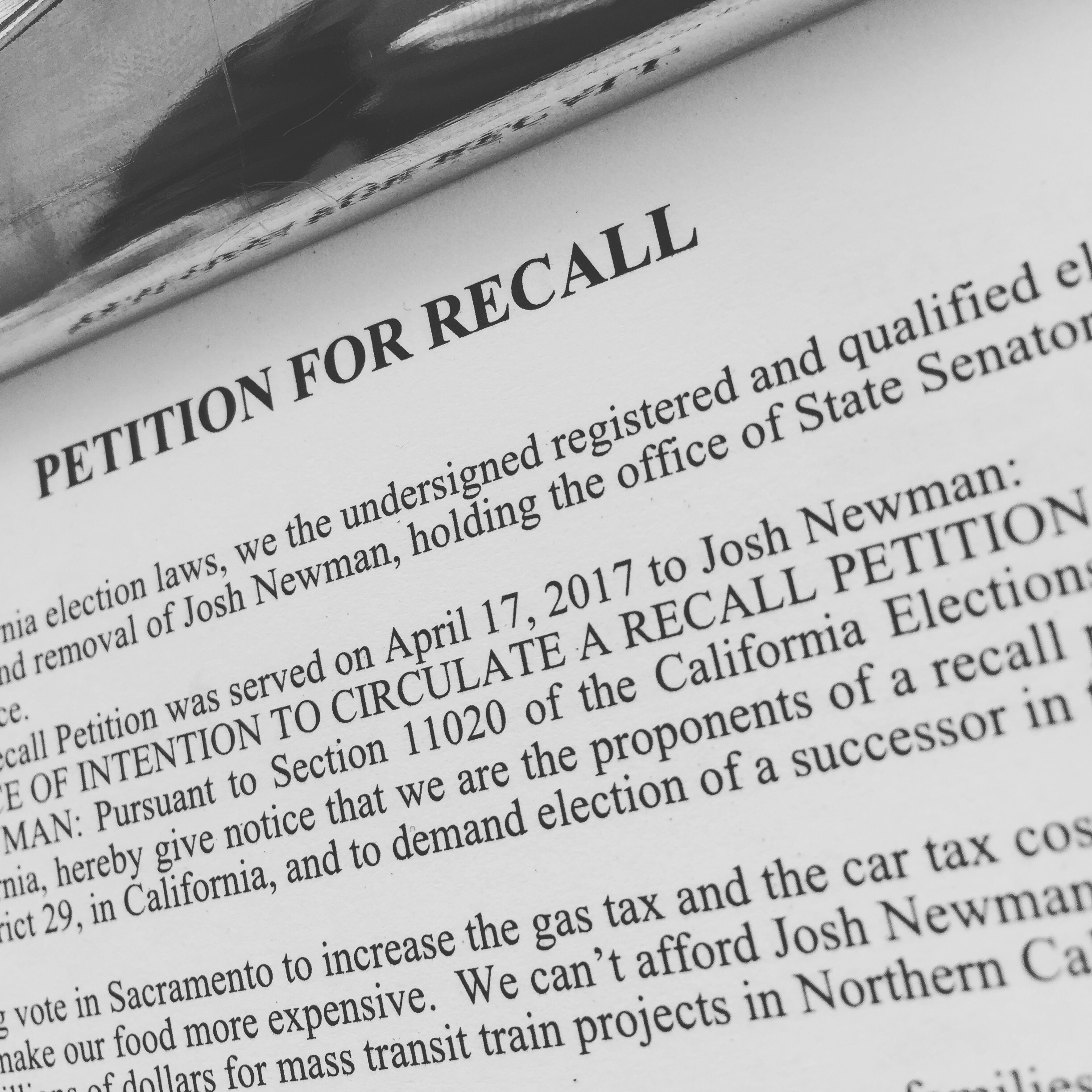 Newman Recall Petition