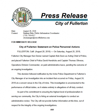 Hendricks Oliveras Press Release