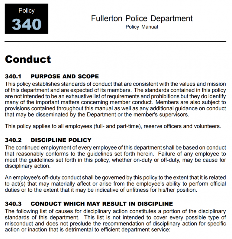 FPD Manual Conduct